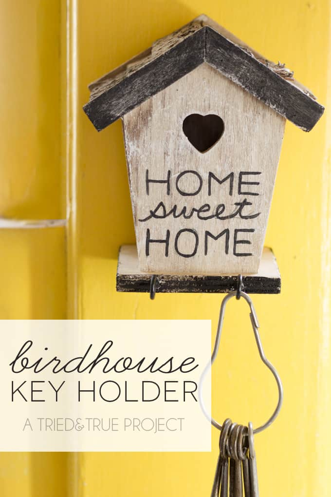 "Make this super easy birdhouse key holder that is not only functional but cute too! Add your favorite saying to the front like ""home sweet home."""