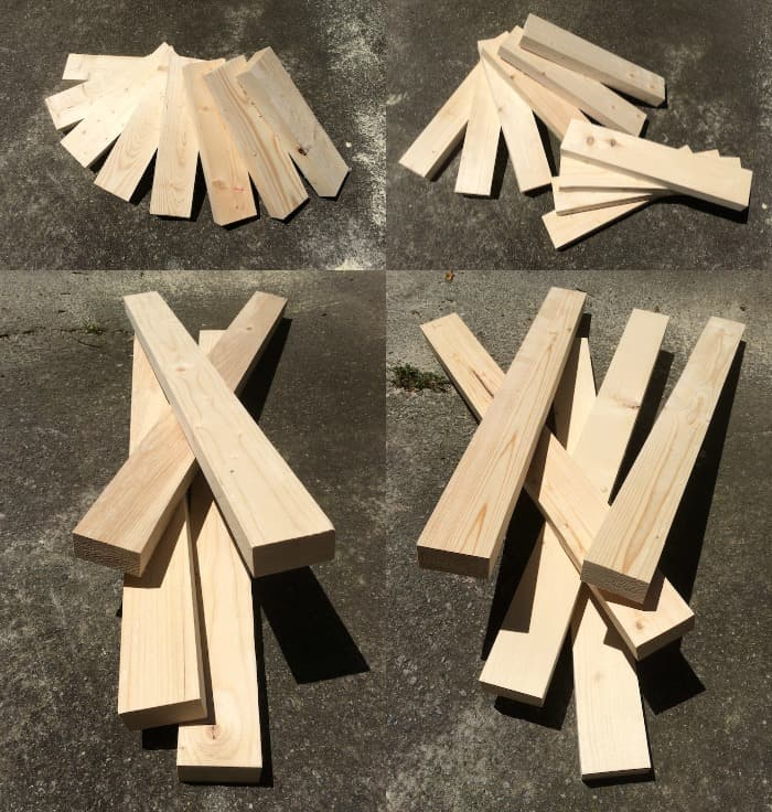 Cut wood pieces for a modern bench