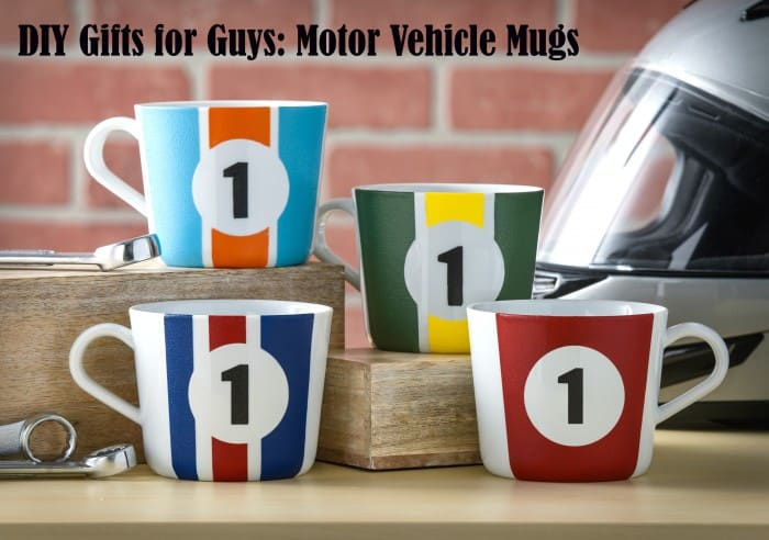 These sports car inspired mugs make great gifts for guys! They are very easy to paint and very inexpensive to make - you just need a few supplies.