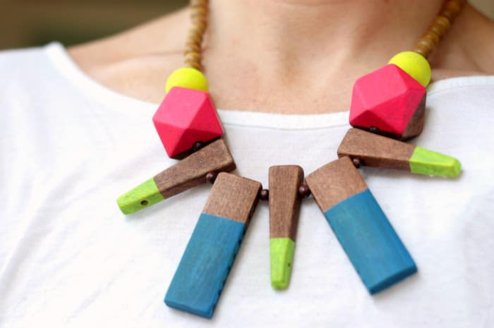 Channel your love of neon and shapes into the most fun statement necklace that will ever grace your neck. It's inspired by summer pool toys!