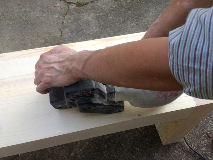 Sanding our DIY bench