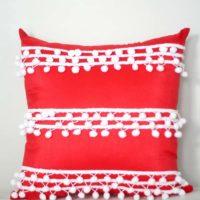 No Sew Pillow Cover with Pom Pom Trim