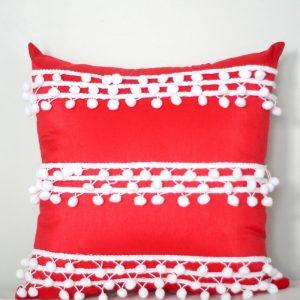 No Sew Pillow with Pom Pom Trim