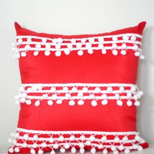 No Sew Pillow with Pom Pom Trim
