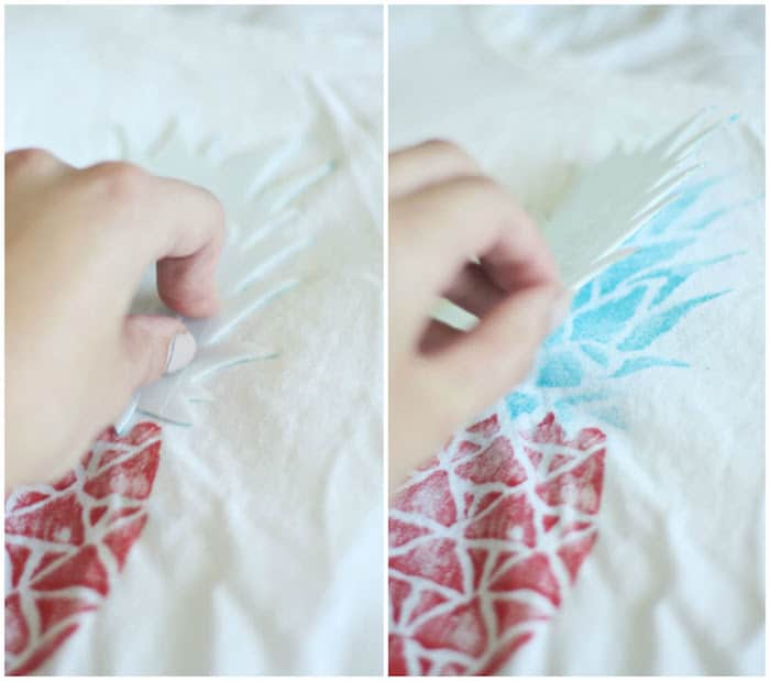 DIY t-shirt stamp - press the stamp to the shirt