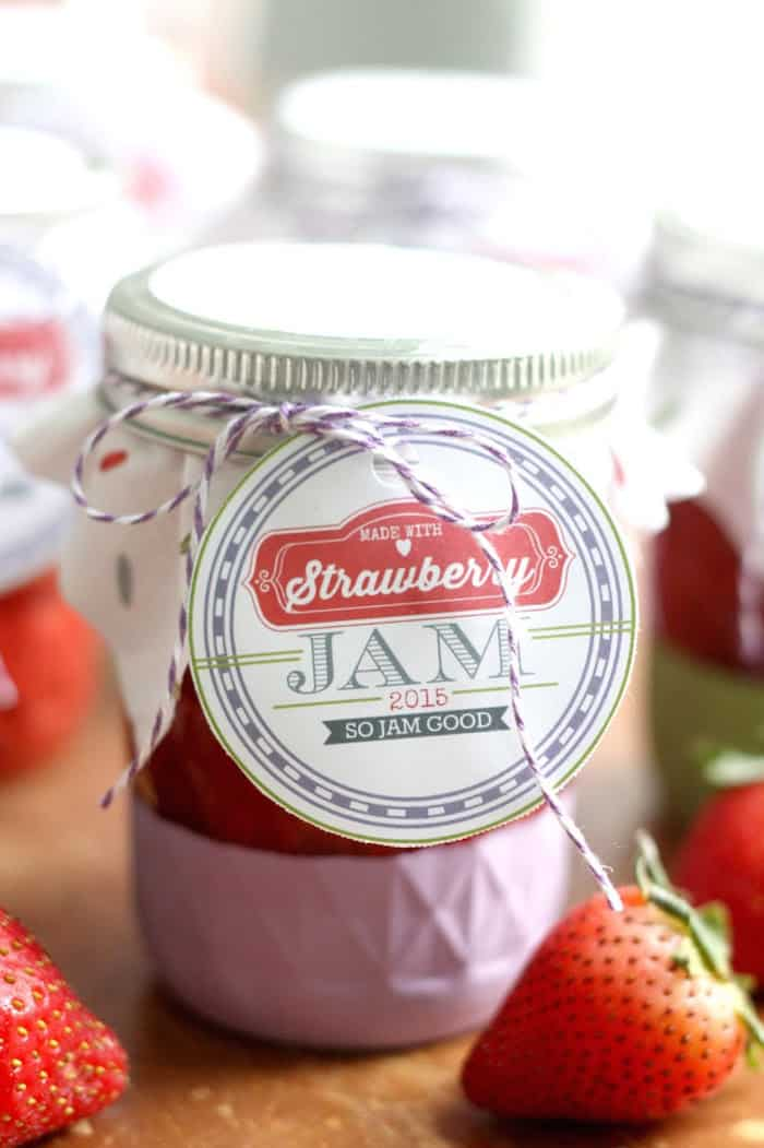 DIY Strawberry Freezer Jam with Printable Labels