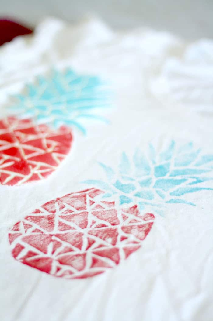 DIY t-shirt stamp - finished pineapples