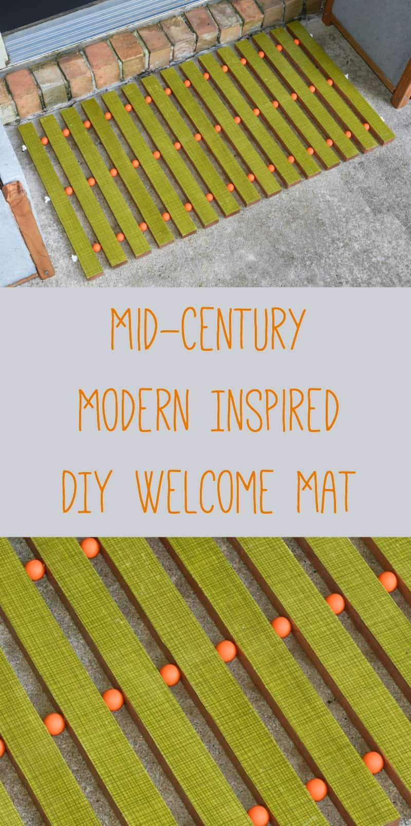 Make a mid-century inspired DIY welcome mat using wood slats and your favorite retro fabric! So easy and very unique.