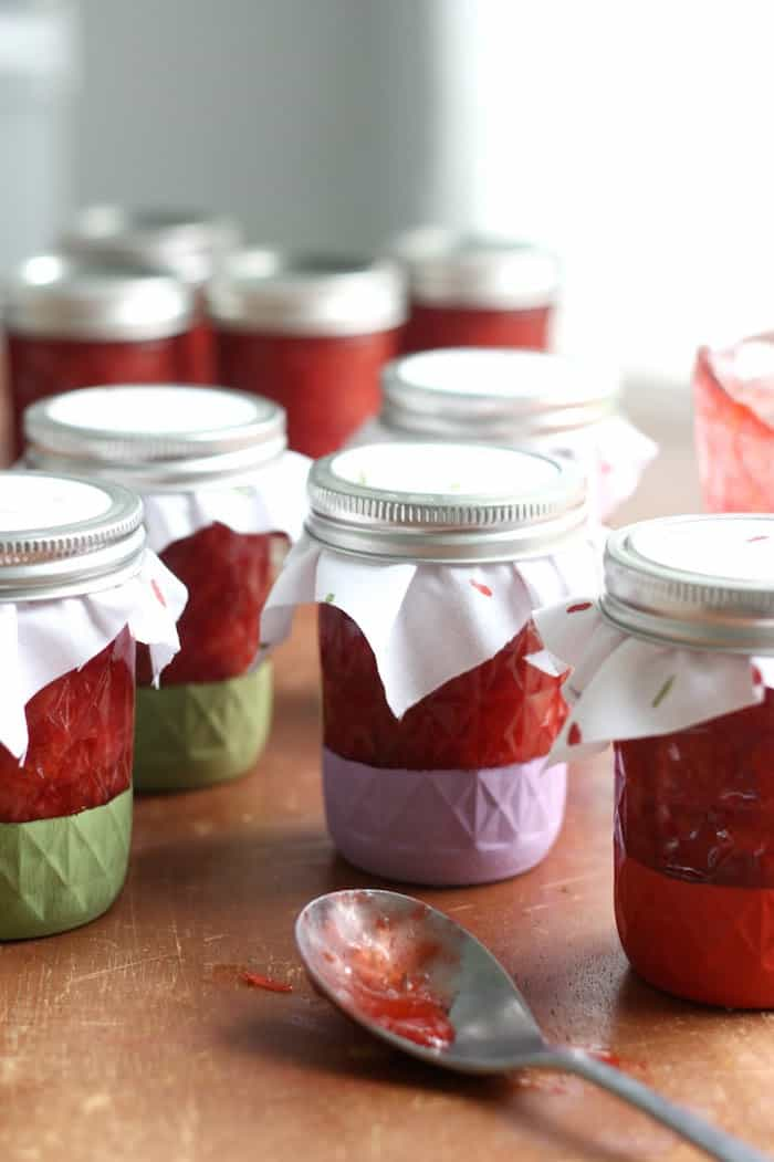 I love to gift my strawberry freezer jam recipe because I make so much and because I think anything in a mason jar is instantly adorable and gift-worthy!