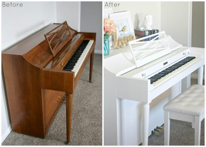 This DIY piano makeover was a dream come true! See how we gave this use piece a new life with some paint and new hardware.