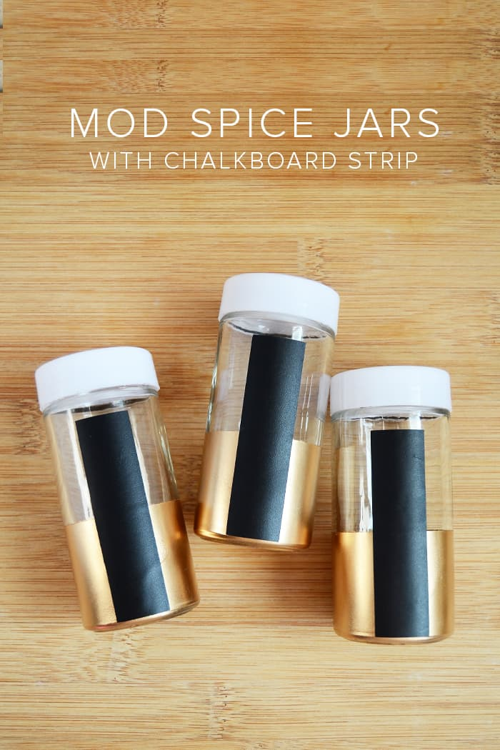 Convert dollar store plastic containers into modern DIY spice jars - and add a chalkboard strips so that you can label them, too!