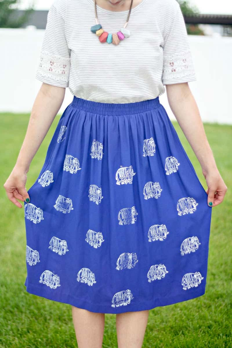 Fabric stamping on a blue ankle length skirt