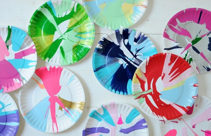 DIY spin art using a salad spinner as a spin painter