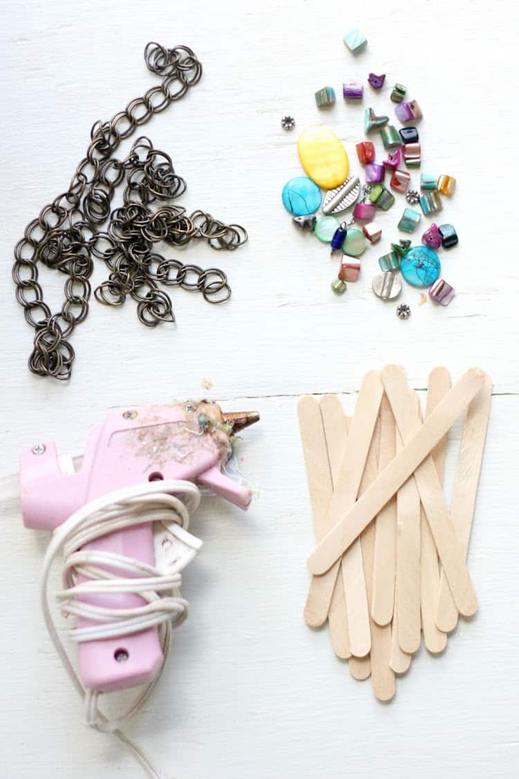 Supplies to make popsicle stick bracelets