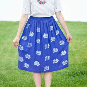DIY Elephant Stamped Skirt