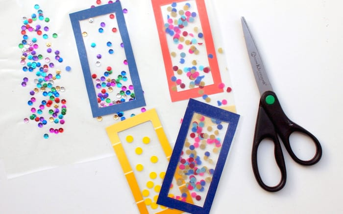 Handmade bookmarks with confetti