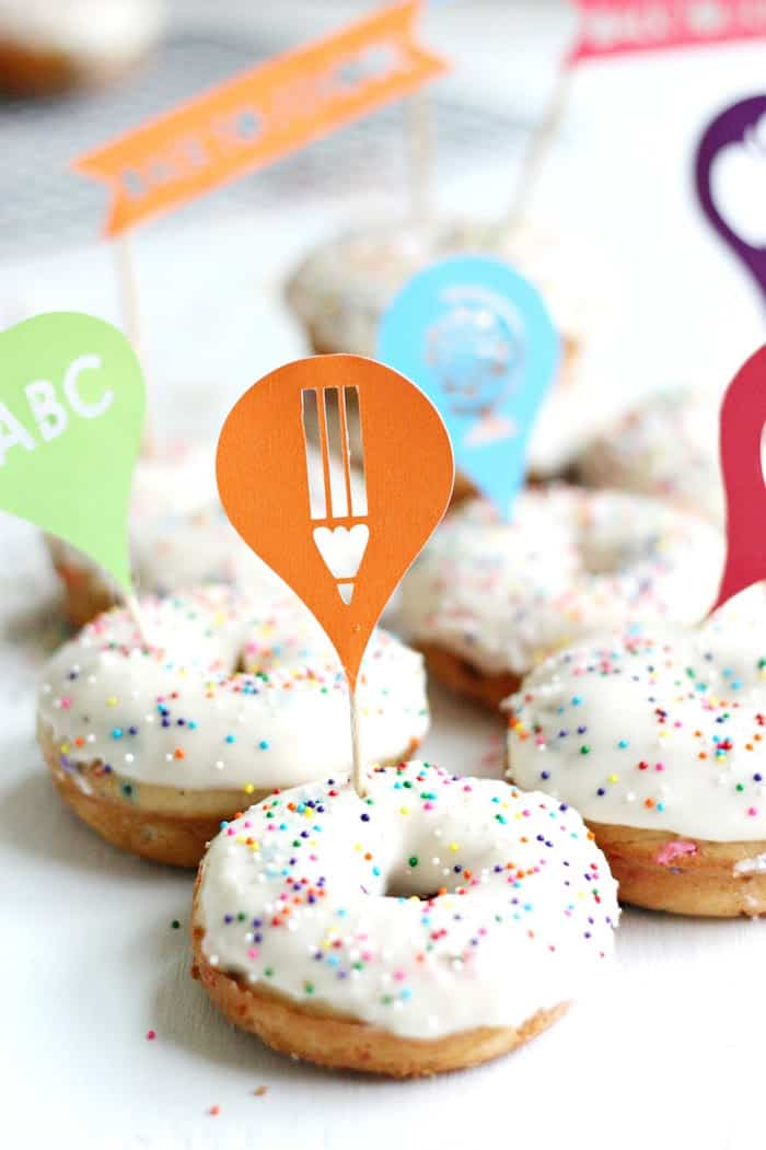 If you're looking for a delicious donut recipe, this funfetti version makes any day special with their fluffy texture and colorful sprinkles inside and out.