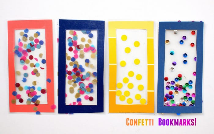 DIY Bookmarks for Kids with Colorful Confetti