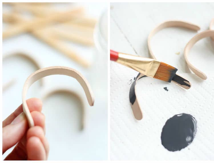 Paint wood popsicle stick bracelets with craft paint