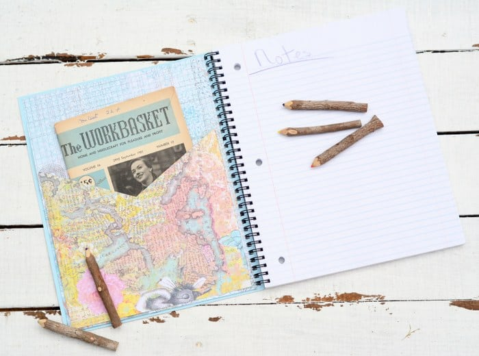 When I picked up this cute map notebook, I thought it would be perfect for embellishing with a stitchy quote! This embroidered notebook makes a great gift.