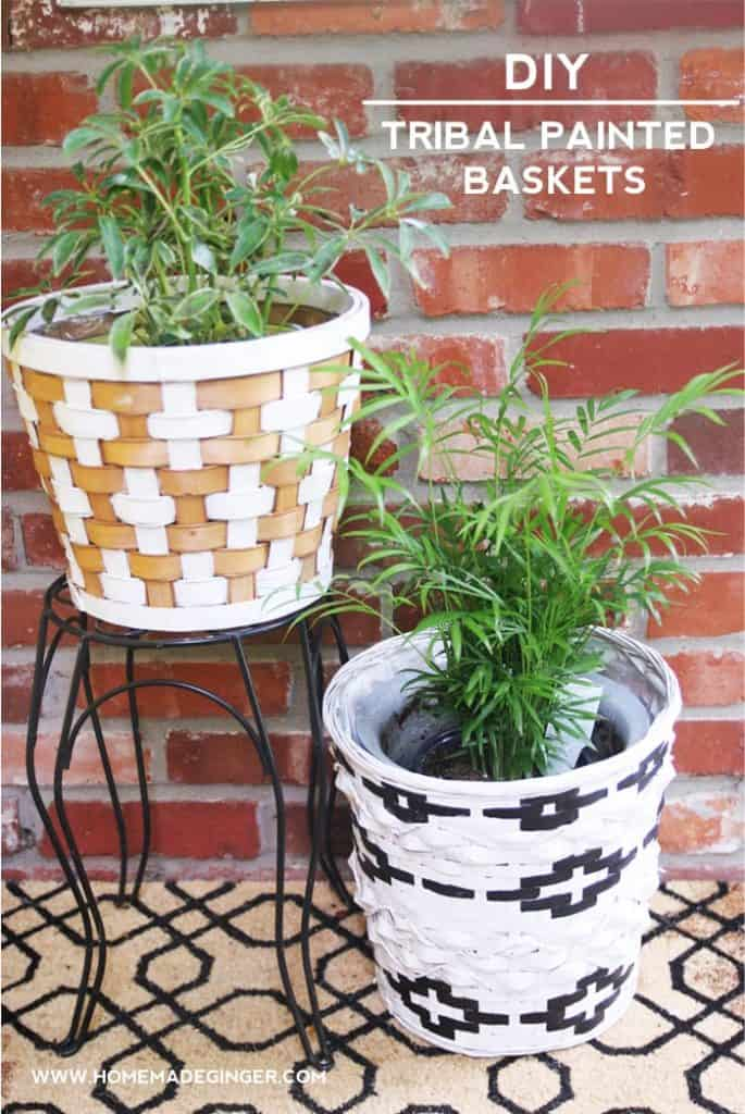 Diy Tribal Painted Baskets For Home Decor