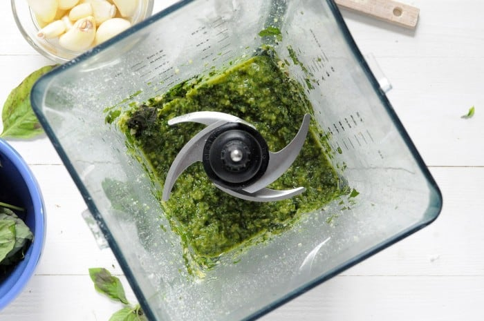 Basil pesto recipe - ingredients combined in a blender
