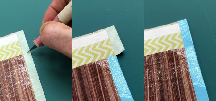 Cutting and folding Duck Tape on the top flap of the iPad case