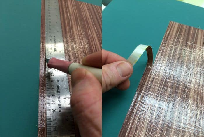 cutting and peeling Duck Tape using an XActo knife and ruler