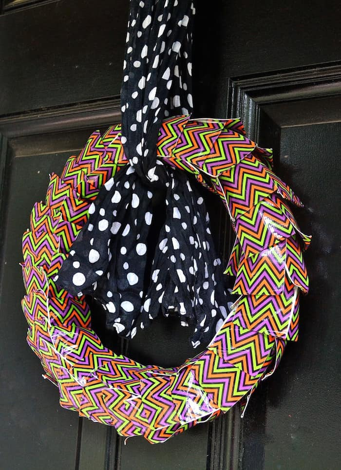 If you've never made a wreath with Duck Tape before, you're missing out! This DIY Halloween wreath is very simple and can be made with any pattern of tape.