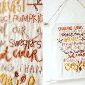 Embroidered Fall DIY Wall Hanging