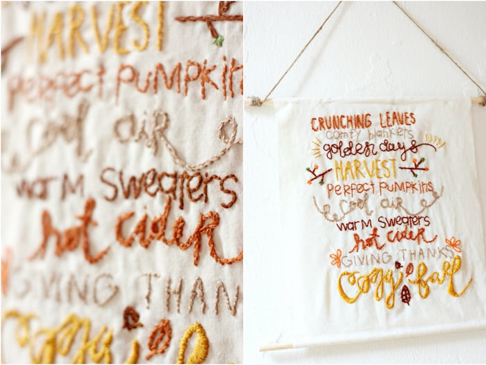 This pretty DIY wall hanging is embroidered with a fun fall theme! Our has a rustic touch but you can customize yours any way you like.