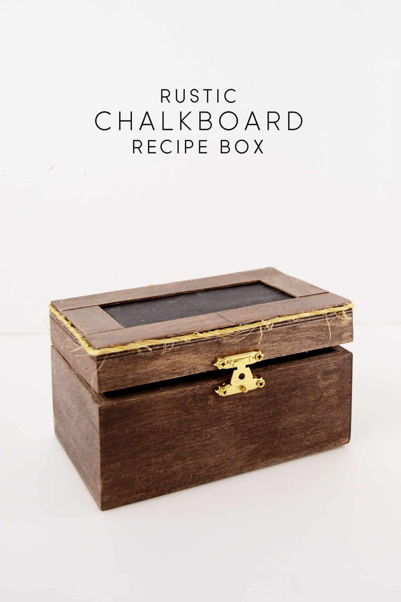 Store all of your treasured recipes in this unique, rustic themed DIY chalkboard recipe box! It's easy to make and perfect for gifting.
