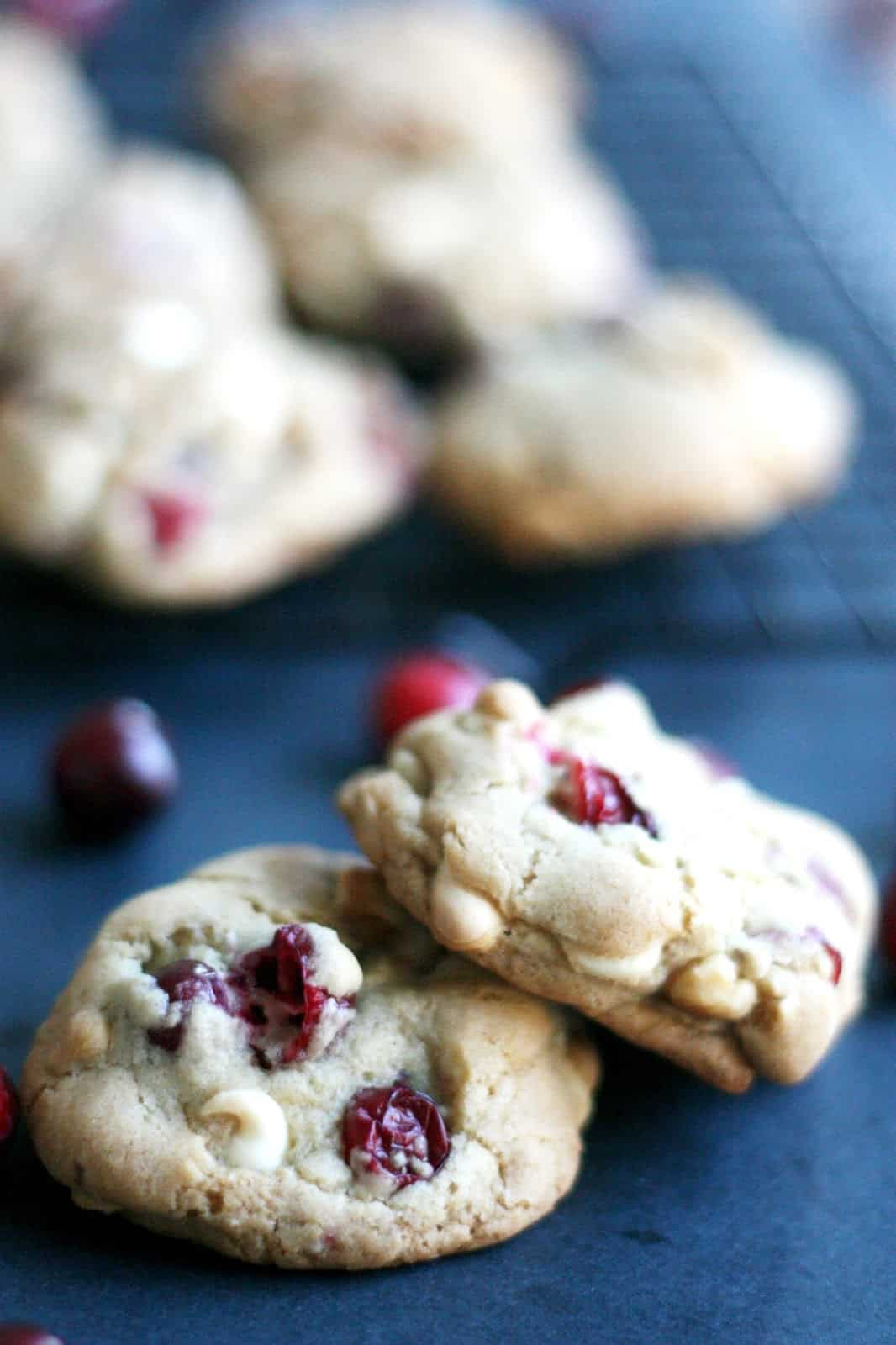 These cranberry-walnut cookies with white chocolate chips are the perfect combination of tart, sweet, and crunchy. This is my FAVORITE cookie recipe for cooler weather!