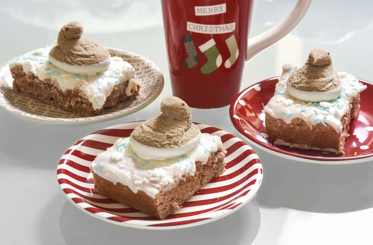 This spice cake bar recipe is perfect for the holidays - they are cake-y, moist, and sweet. And the PEEPS® on top make them so festive!