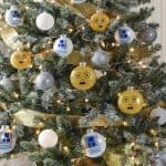Rebels will love this droid themed Star Wars Christmas tree! Learn how to easily DIY your own C-3PO and R2-D2 ornaments. Your family will love these decorations and having the Force in their home during the holidays.