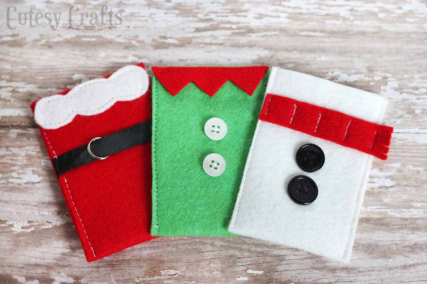 felt character christmas gift card holders
