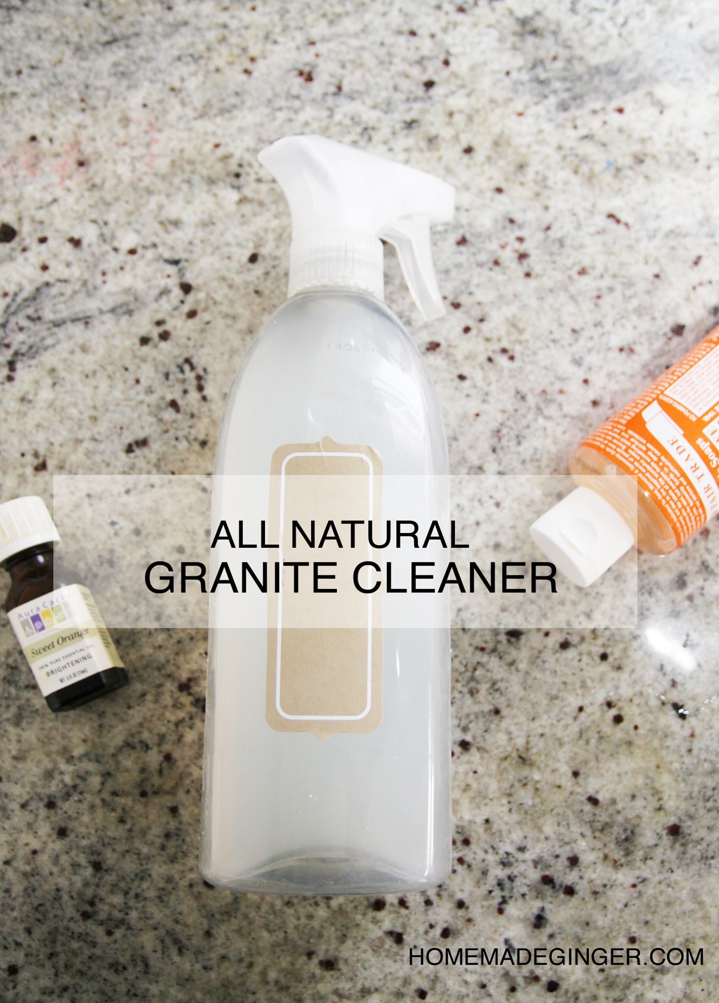 This DIY granite cleaner contains no dish detergent, so it's all natural. It really makes the countertops sparkle! Works on tile and other surfaces, too.