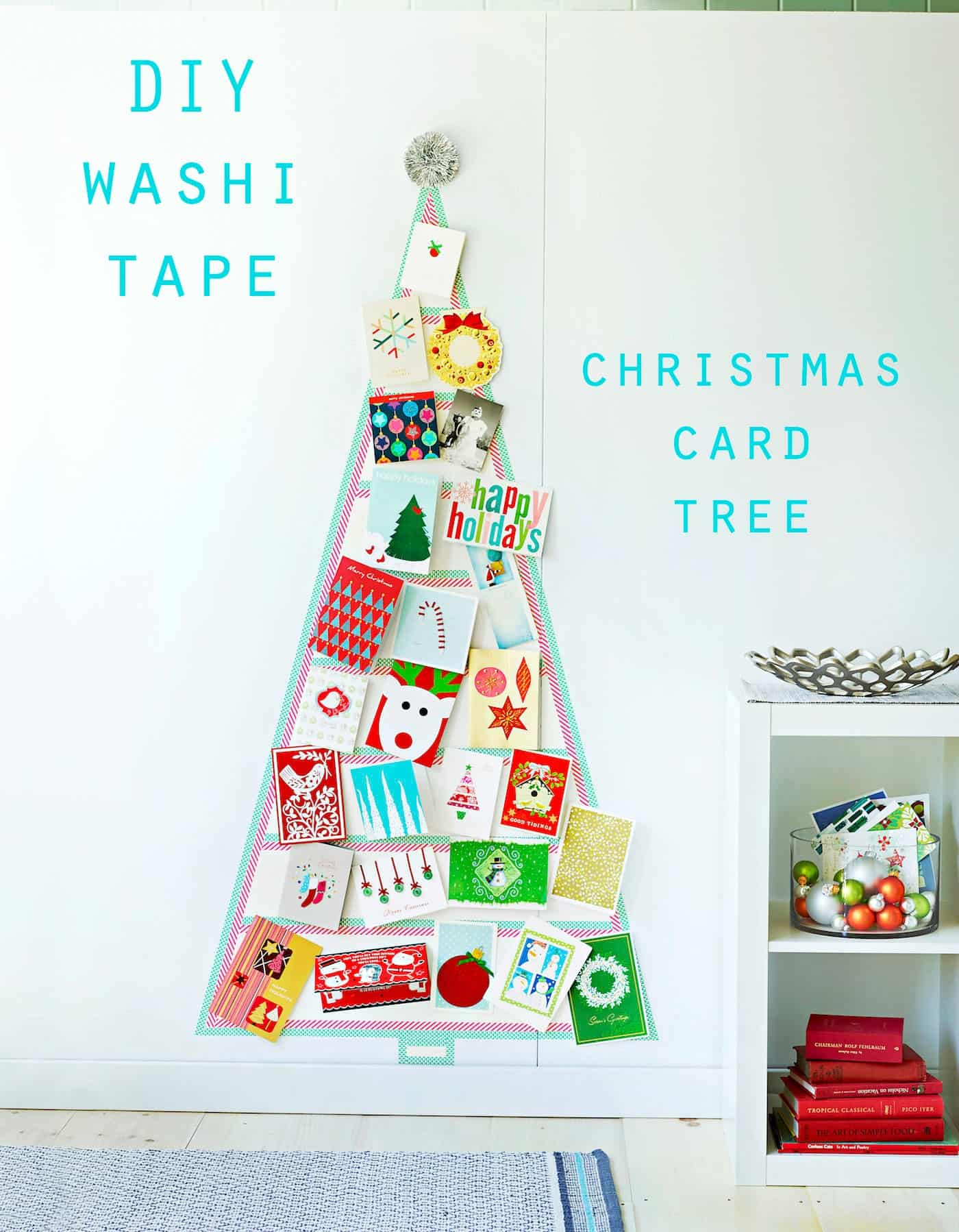 DIY Washi Tape Christmas Card Tree - diycandy.com