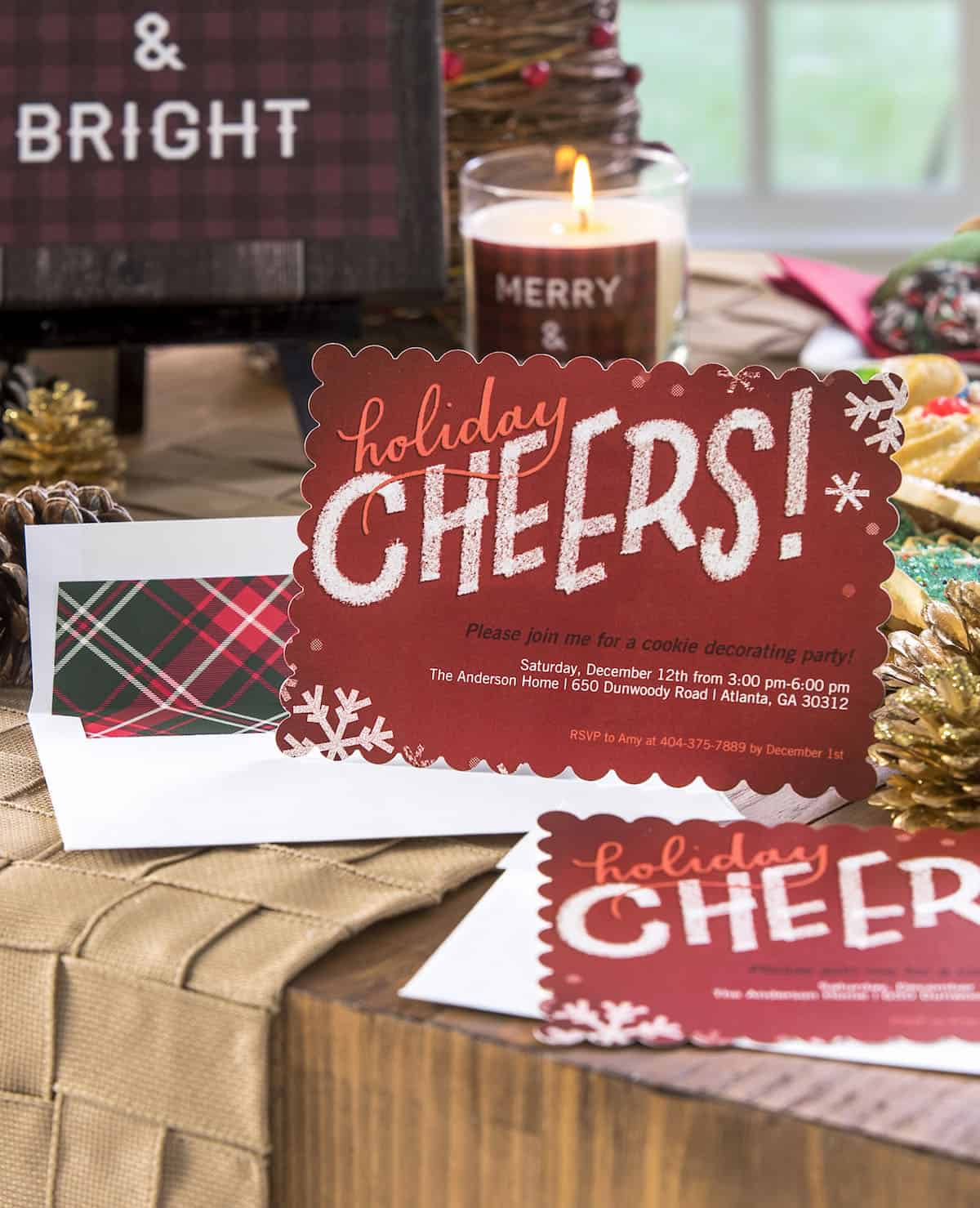 Use personalized Shutterfly printed items along with my DIY burlap runner tutorial to have the best plaid themed cookie exchange ever!