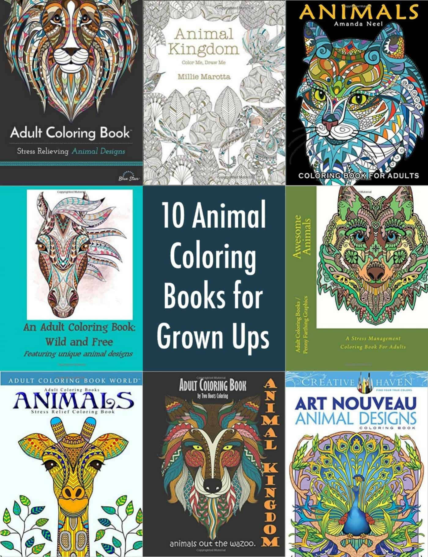 10 Animal Coloring Books For Grown Ups Diy Candy