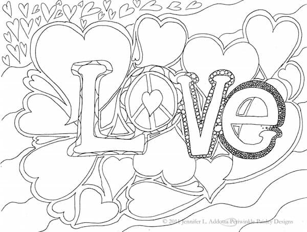 With love and peace coloring page