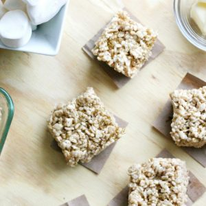 Rice krispie treats cut into squares