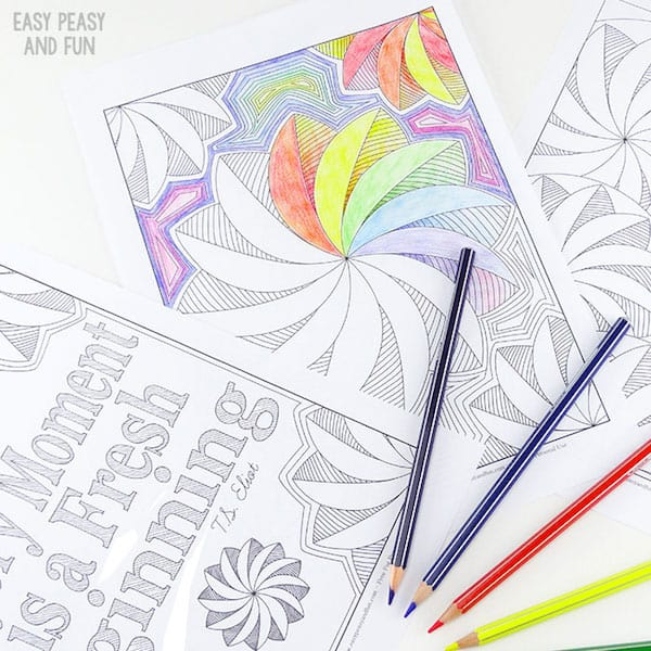 Flower swirl coloring pages for adults