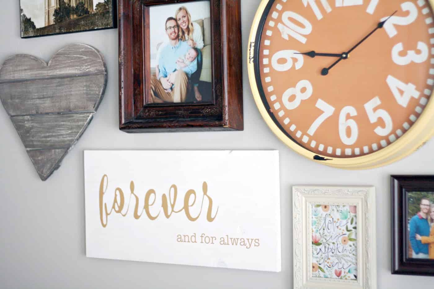 "Add this easy ""forever and always"" wall art decor piece to an existing gallery wall - it's simple yet makes a big statement! Customize in any color."