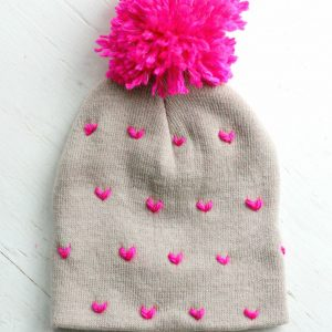 DIY Heart-Patterned Pom Pom Beanie