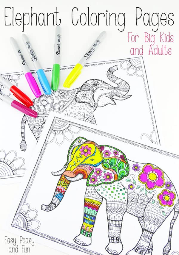Elephant coloring pages for big kids and adults