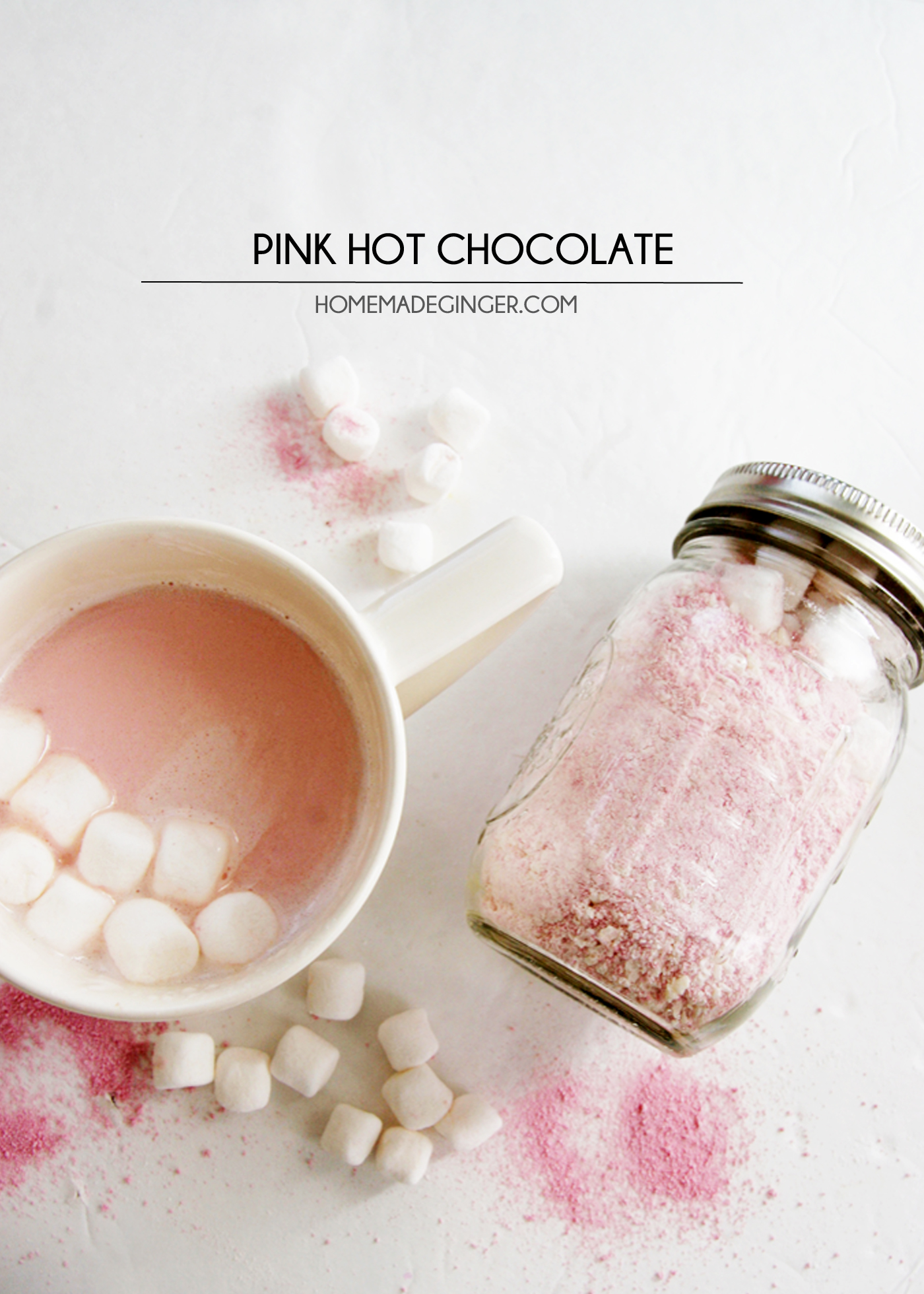 Delicious homemade pink hot chocolate