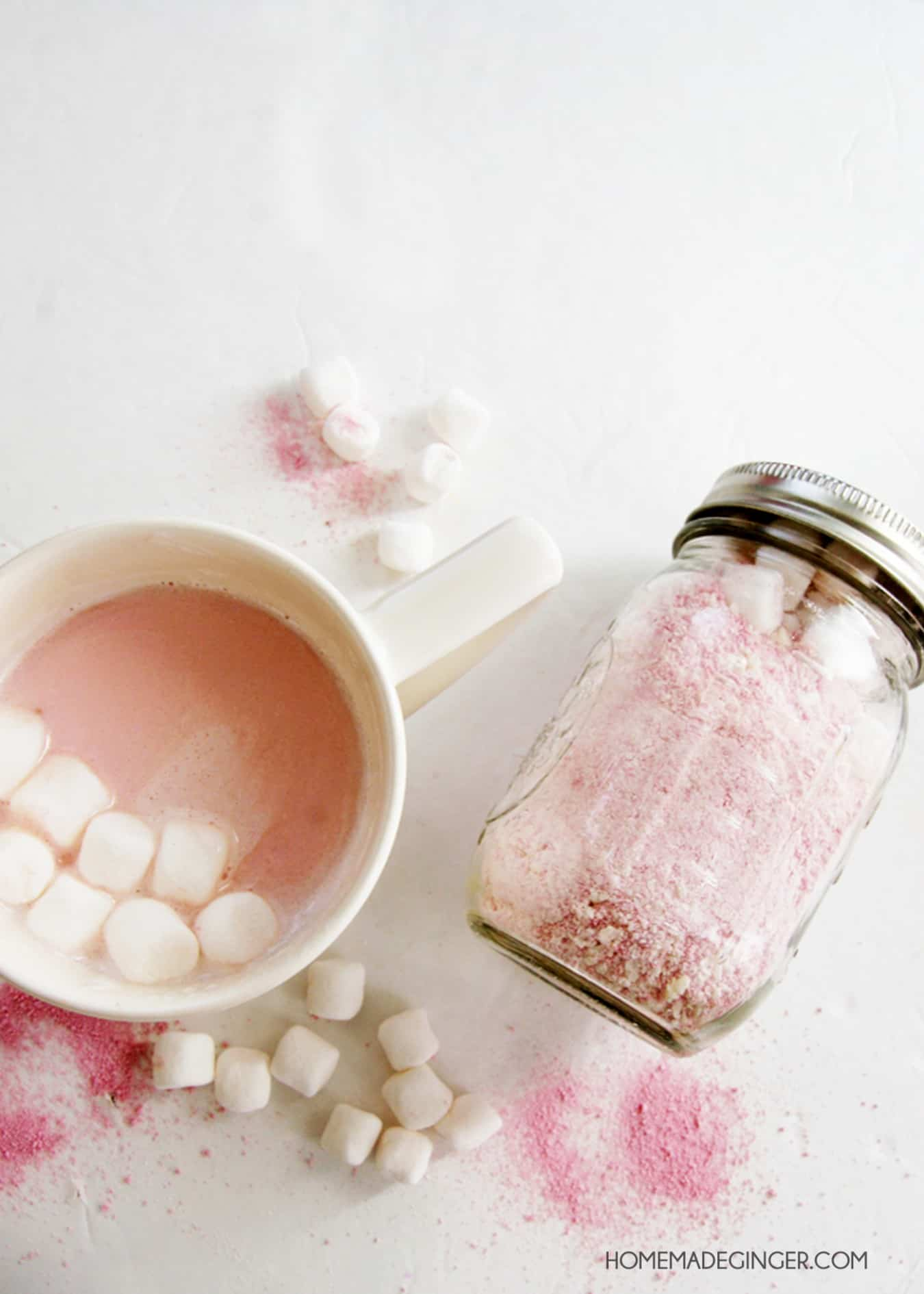 Pink hot chocolate in a jar