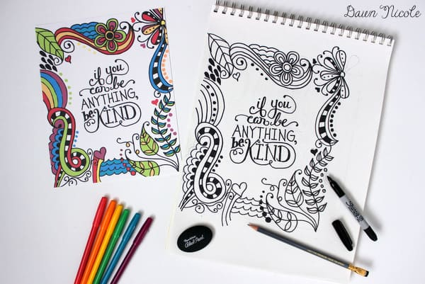 If you can be anything be kind free coloring page