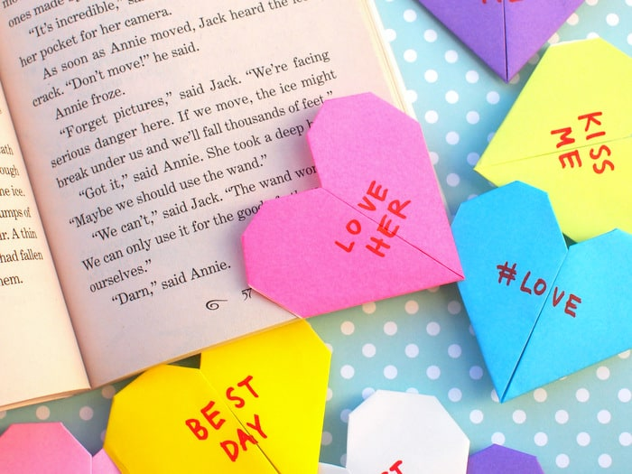 Origami corner bookmark shaped like a heart